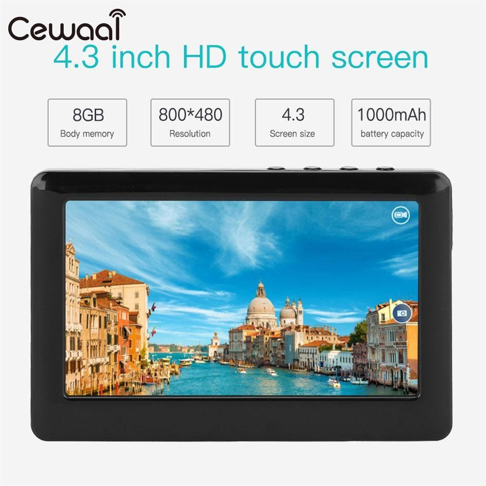 Cewaal 8GB 4.3 Inches HD Touch LCD Screen MP3  MP4 MP5 Media Video Music Player FM Radio Support TF Card Gift