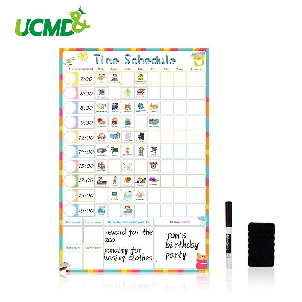 Magnetic Dry Erase Weekly Schedule Calendar Daily Planner Drawing Time Schedule Writing To-Do List Reward Chart Wall Sticker