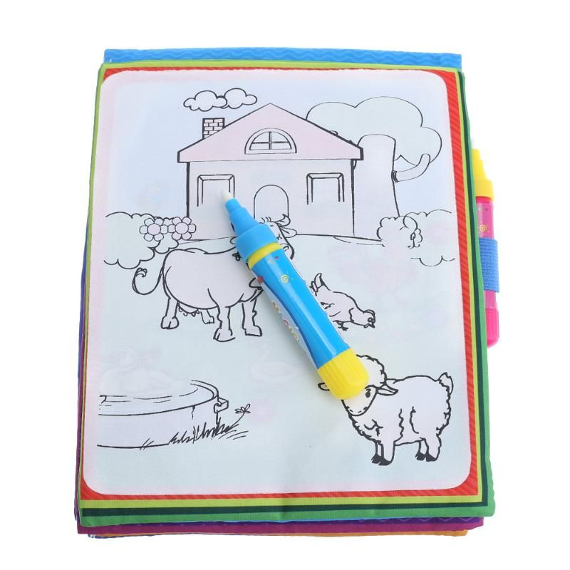 Magic Water Drawing Coloring Cloth Book Animals Painting Board Children Early Educational Drawing Toy Kids Birthday Xmas Gift