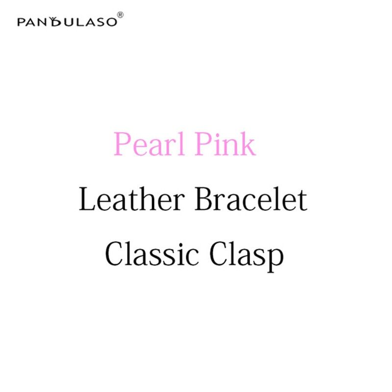 Pandulaso Pearl Pink Leather Bracelets with Classic Clasp DIY Jewelry Accessories Original Silver 925 Rope Bracelets for Women
