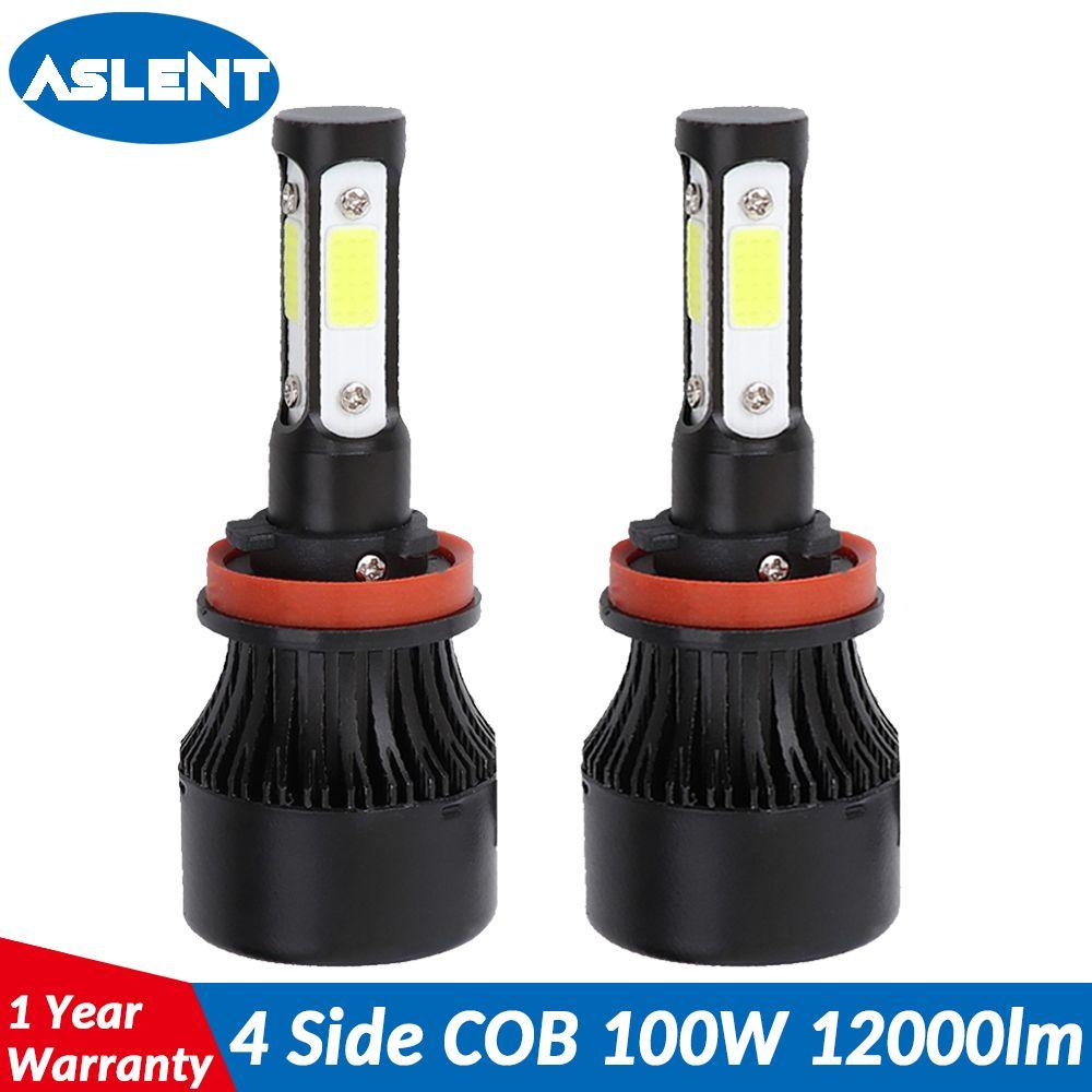 Aslent 4 Côté Lumens COB 100 W 12000lm LED Ampoule H4 H7 H11 H13 HB3 9005 HB4 9006 9004 9007 Automatique de Phare de voiture de Phare 12 v