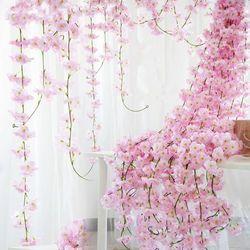 200 cm Sakura cereza ratán Arco de la boda decoración vid flores artificiales inicio partido decoración hiedra de seda pared colgante guirnalda