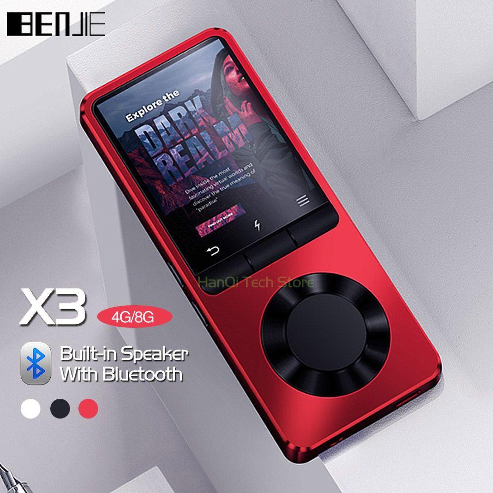 BENJIE X3 métal Bluetooth lecteur MP3 Portable Audio 4 GB 8 GB lecteur de musique avec haut-parleur intégré Radio FM, enregistreur, livre électronique, horloge