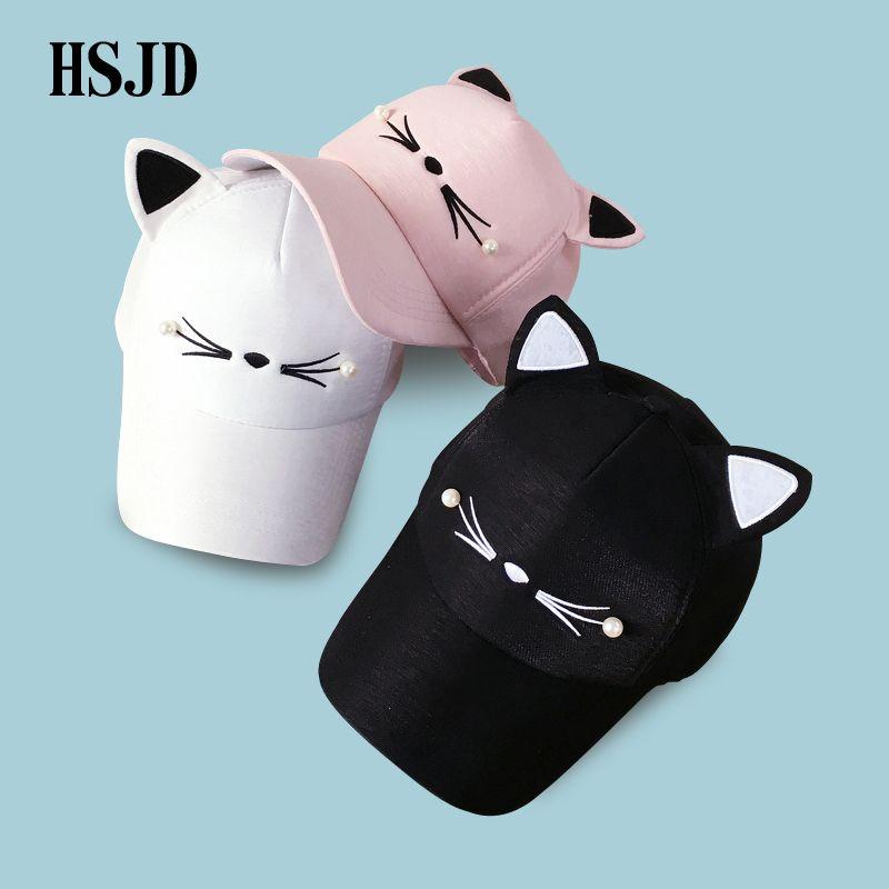 Snapback Cute Cat Ears Pink Baseball Cap Women's hats 2018 New Lovely cat Adjustable Sunscreen Caps Casual Drake Bones Unisex