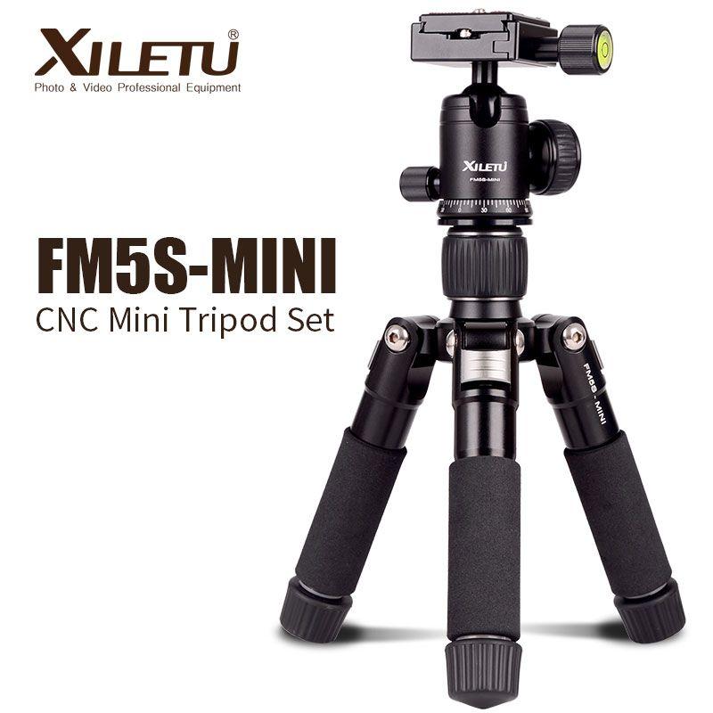XILETU FM5S-MINI trépied en aluminium léger de table Mini trépied de support de voyage avec tête à billes de 360 degrés pour appareil photo numérique