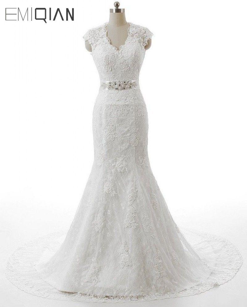 Kostenloser Versand robe de mariee Echt Fotos Kappen-hülsen Spitze Brautkleider Meerjungfrau Brautkleider Vestido de Casamento