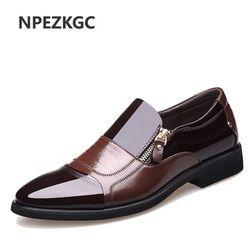 Npezkgc Baru Musim Semi Fashion Oxford Bisnis Pria Kulit Asli Kualitas Tinggi Lembut Bernapas Pria Flat ZIP Sepatu