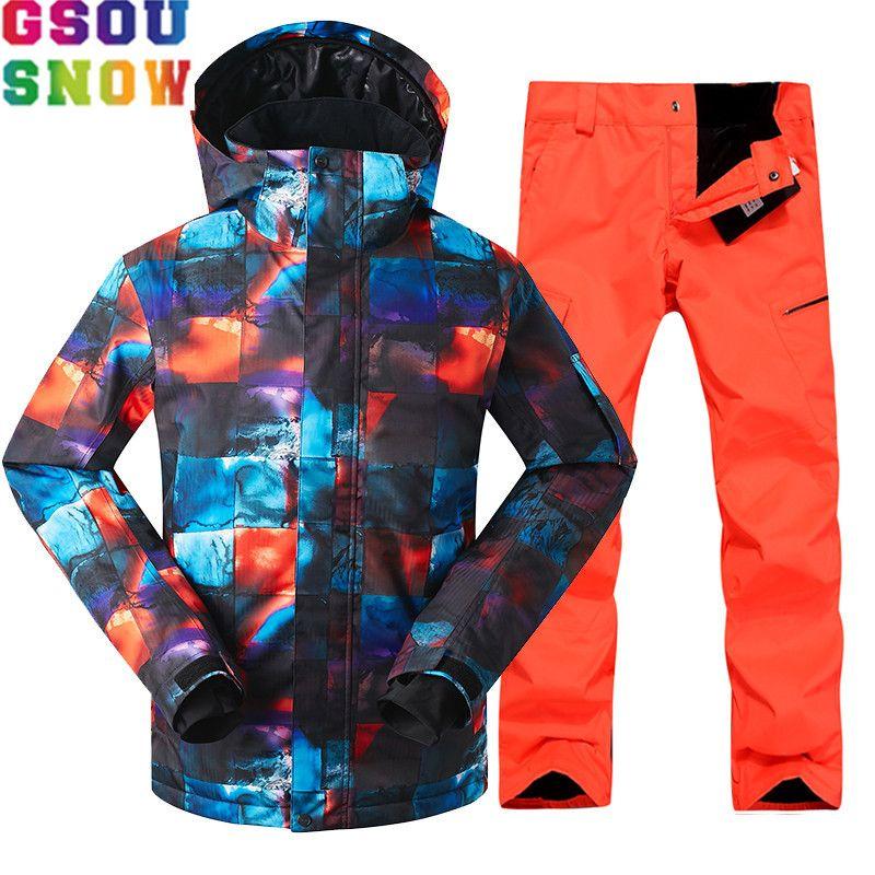 Marke GSOU SCHNEE Skianzug Männer Skifahren Jacke Snowboard Hosen Wasserdicht Mountain Ski Anzüge Winter Männlichen Freien Sport Kleidung