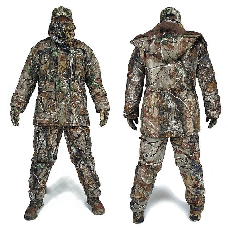 Männer der Winter Bionic Camouflage Jagd Anzüge Mann Im Freien Dschungel Wald Jagd Kleidung Winter Warme Camo Windjacke Hut Handschuhe
