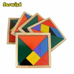 Surwish Wooden Tangram 7 Piece Jigsaw Puzzle Colorful Square IQ Game Brain Teaser Intelligent Educational Puzzles for Kids