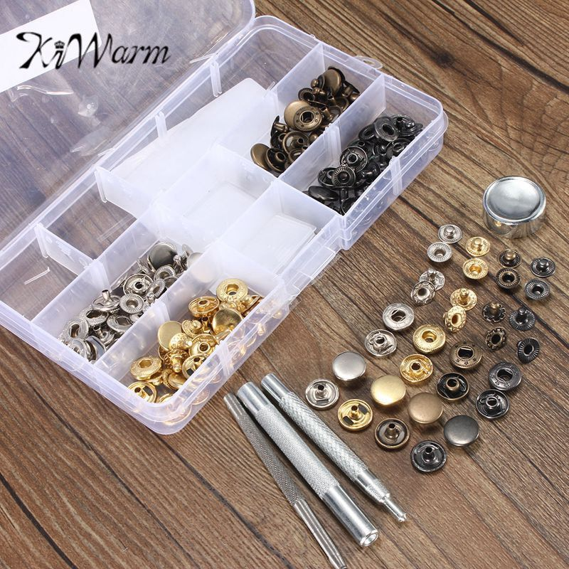 KiWarm Hot Selling 40 Sets Snap Fasteners Press Stud Kit with Tool Inbox Sewing Leather Buttons Installation Tools Accessories