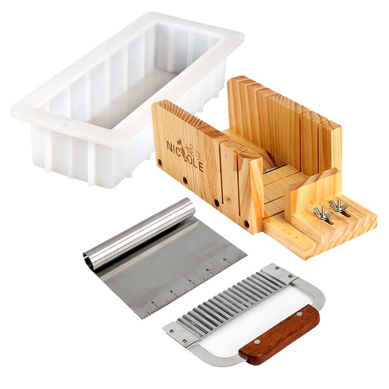 Nicole Silicone Mold Soap Making Tool Set-4 Adjustable Wooden Loaf Cutter Box 2 Pieces Stainless Steel Blades and 10''Mould