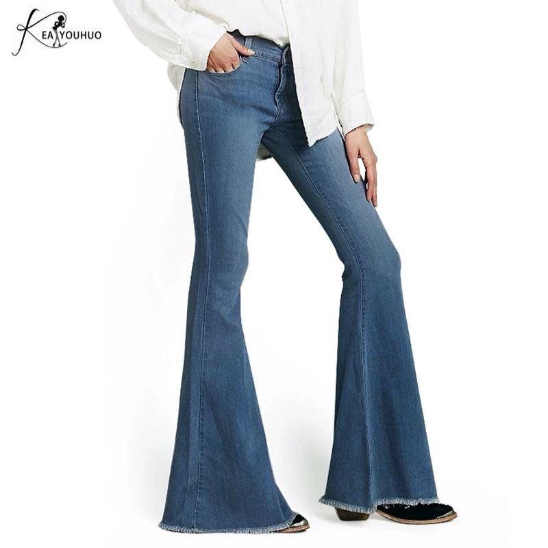 2018 Hiver Noir Taille Haute Flare Jeans Boyfriend Jeans Pour Femmes Cloche Fond Denim Skinny Jeans Femme femme Large Jambe pantalon