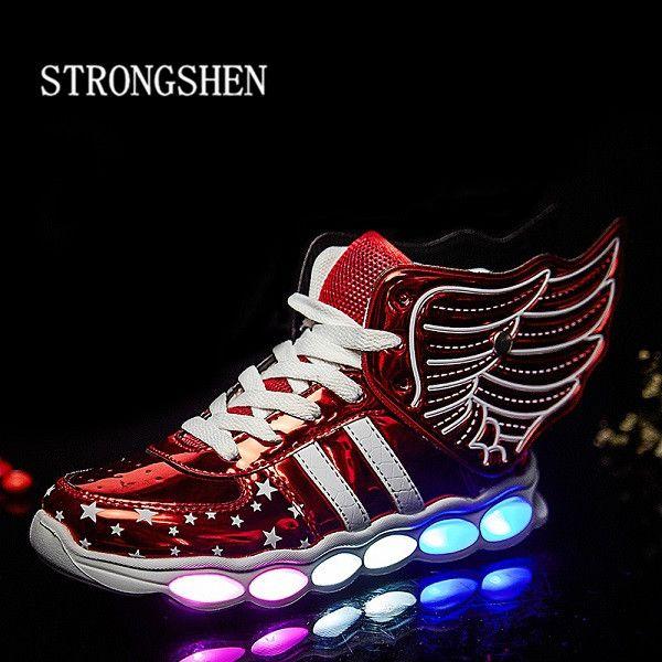 Strong shen 2018 nouvelle taille 25-37/USB aile de charge Led chaussures pour enfants avec lumière décontracté garçons et filles chaussures de sport brillant