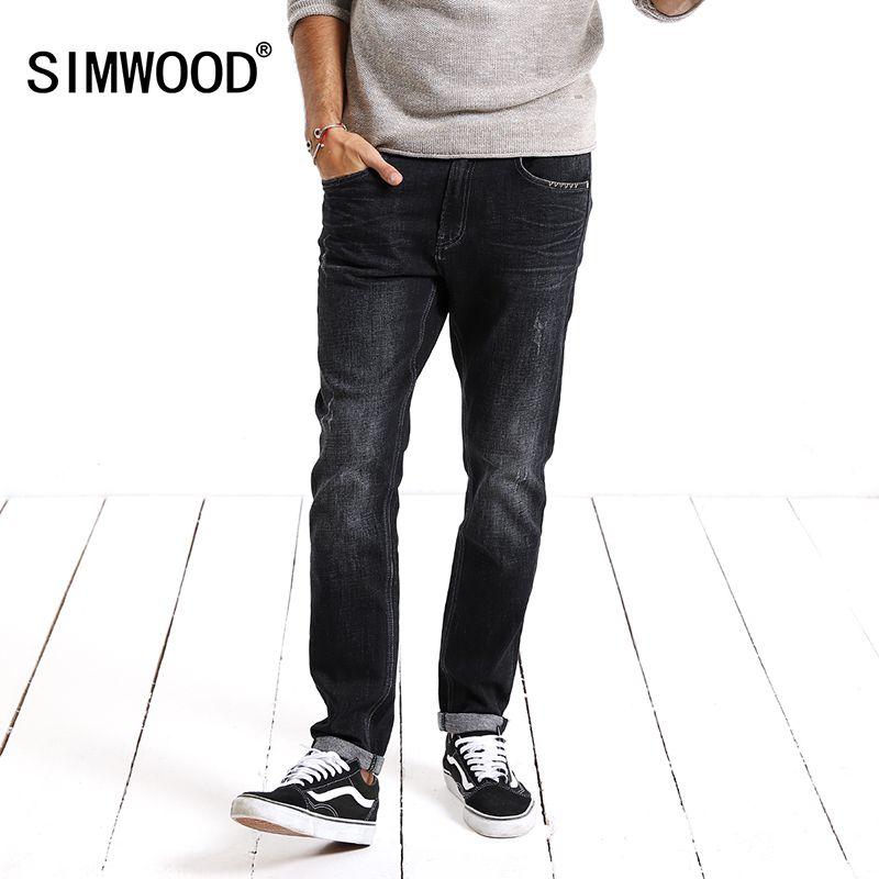 Simwood Jeans Hommes 2018 Denim Pantalon De Mode Solid Slim Fit Plus Taille Mi Droite Nouvelle Marque Vêtements Livraison Gratuite NC017027