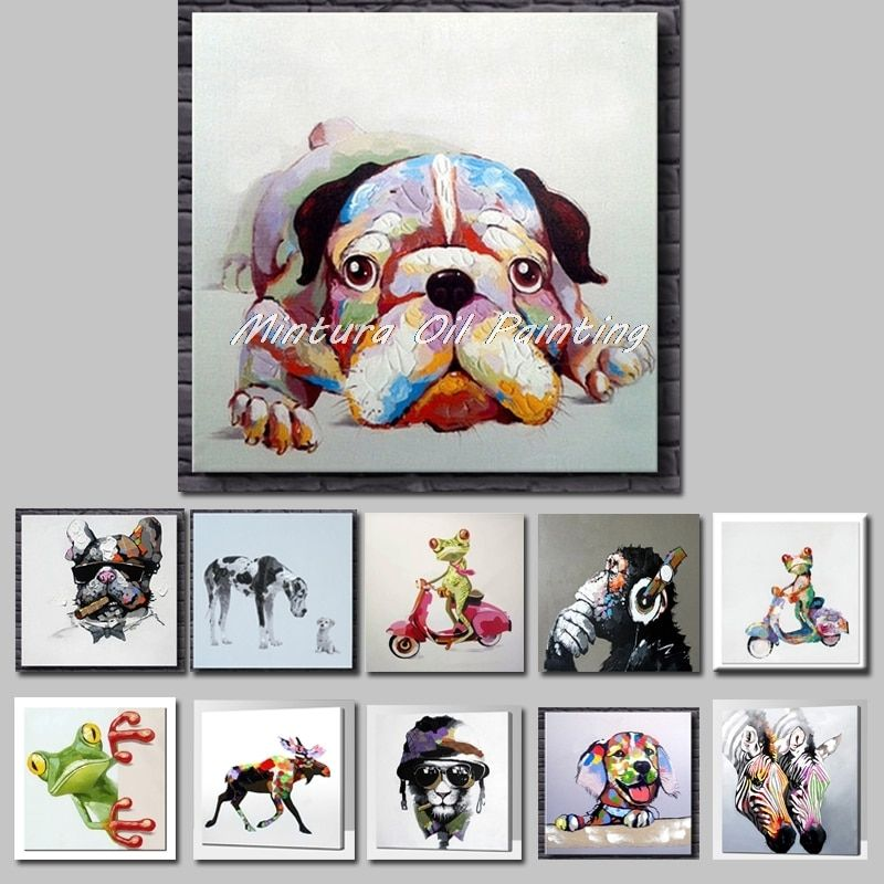 Mintura Art Hand Painted Acrylic Canvas Oil Paintings Colorful Dog Modern Abstract Animal Wall Art Kid's Room Decor No Framed