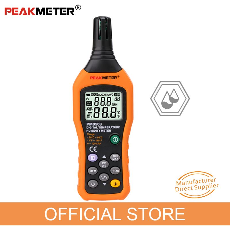 Official PEAKMETER PM6508 Digital Temperature Humidity Hygrometer Thermometer Weather Station