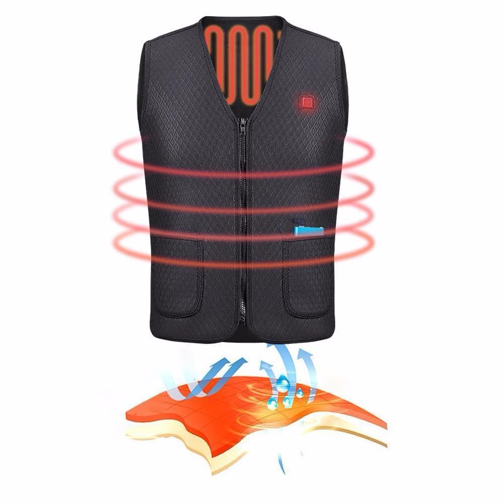 2018 New Outdoor USB Heater Vest Infrared Electric Heated Jacket Winter Clothes Outdoor Sleeveless Vest Hiking Climbing Hunting