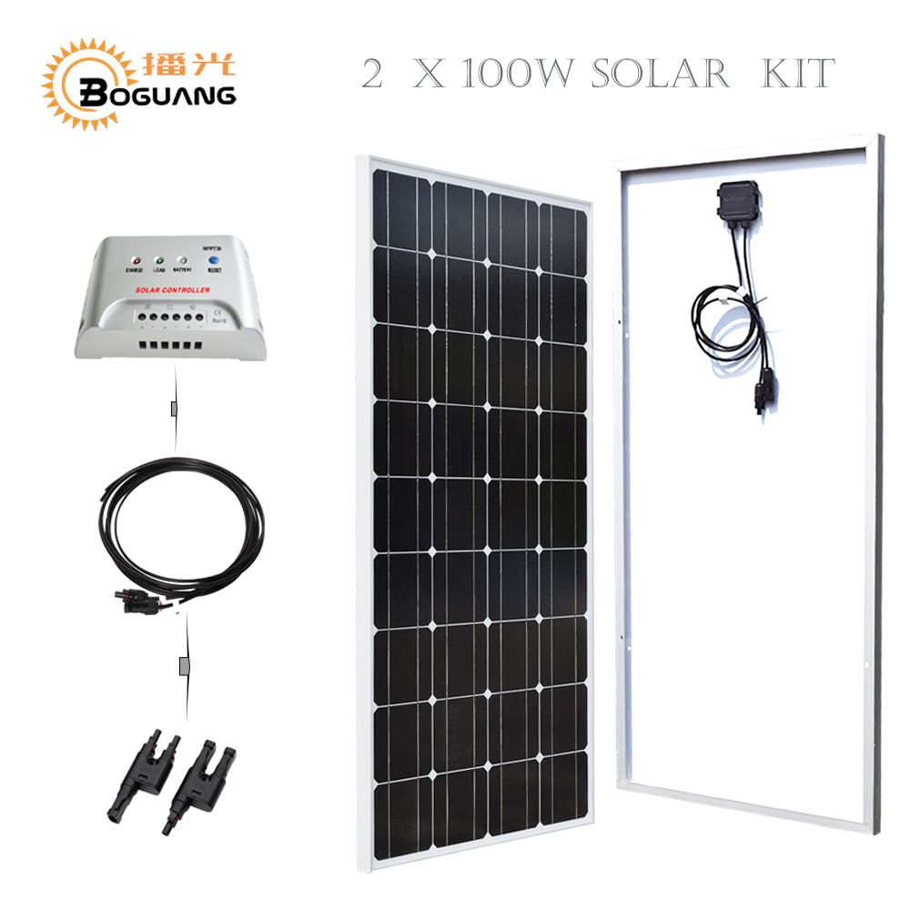 Boguang 2*100w Solar panel glass MPPT 20A controller MC4 adapter cable 200w solar kit system 12v battery home power charger