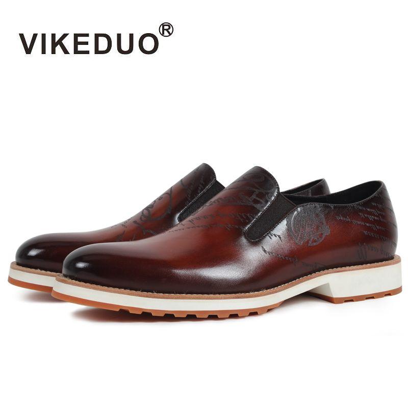 Vikeduo Hecho A Mano Caliente Causal del Holgazán de Los Hombres Zapatos 100% Cuero Genuino de Moda de Lujo Zapatos de Vestir de Fiesta Joven Diseño Original