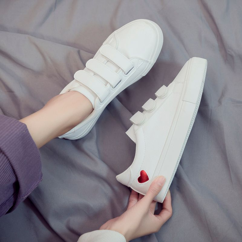 Woman Leather Shoes 2019 Spring New Fashion Women Shoes Casual High Platform PU Leather Heart Women Casual White Shoes Sneakers