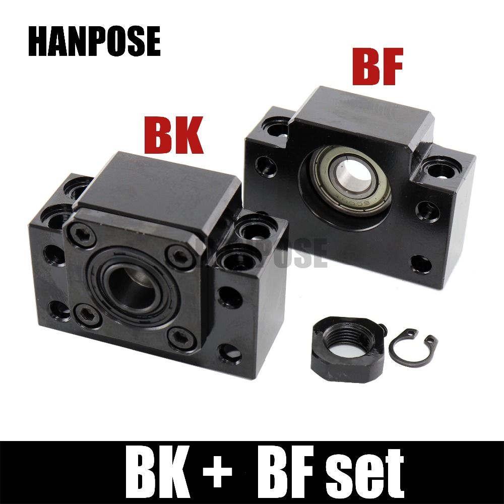Free shipping BK BF Set one pc of BK12/10/15/20 and one pc BF12 for RM1204 SFU1605 sfu2005 Ball Screw End Support for CNC parts