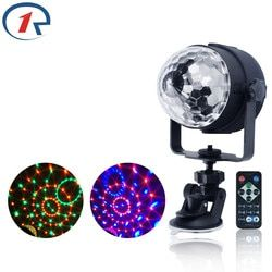 ZjRight IR Remote RGB LED Crystal Magic Rotating Ball Stage Lights USB 5V Colorful ktv DJ light disco light Music control Light