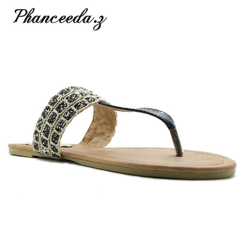 Nouveau 2019 chaussures de Style d'été femmes sandales mode léopard appartements Top qualité solide tongs Sexy pantoufles grande taille 6-11