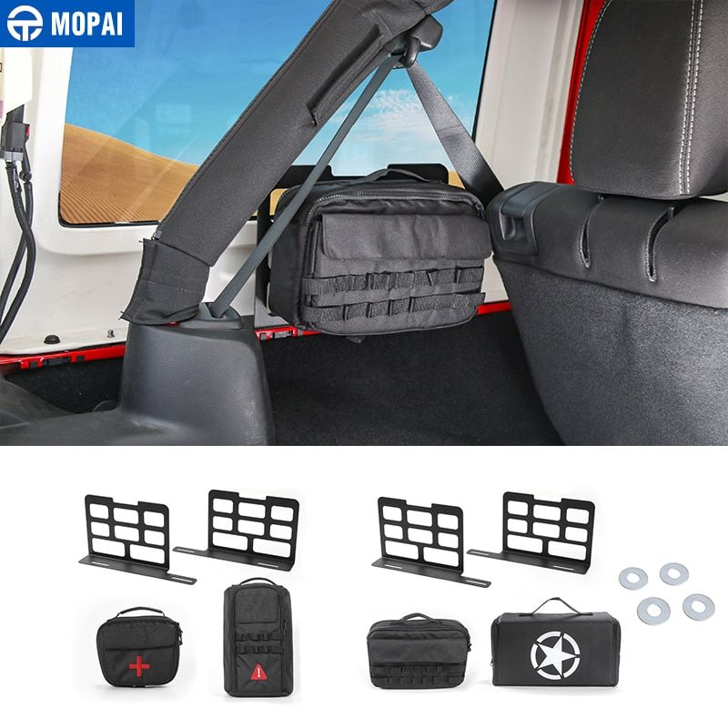 MOPAI Car Trunk Rack Luggage Carrier Storage Rack Camping Mat Storage Bag Tool kit for Jeep Wrangler JK JL 2007-2018 Car Styling