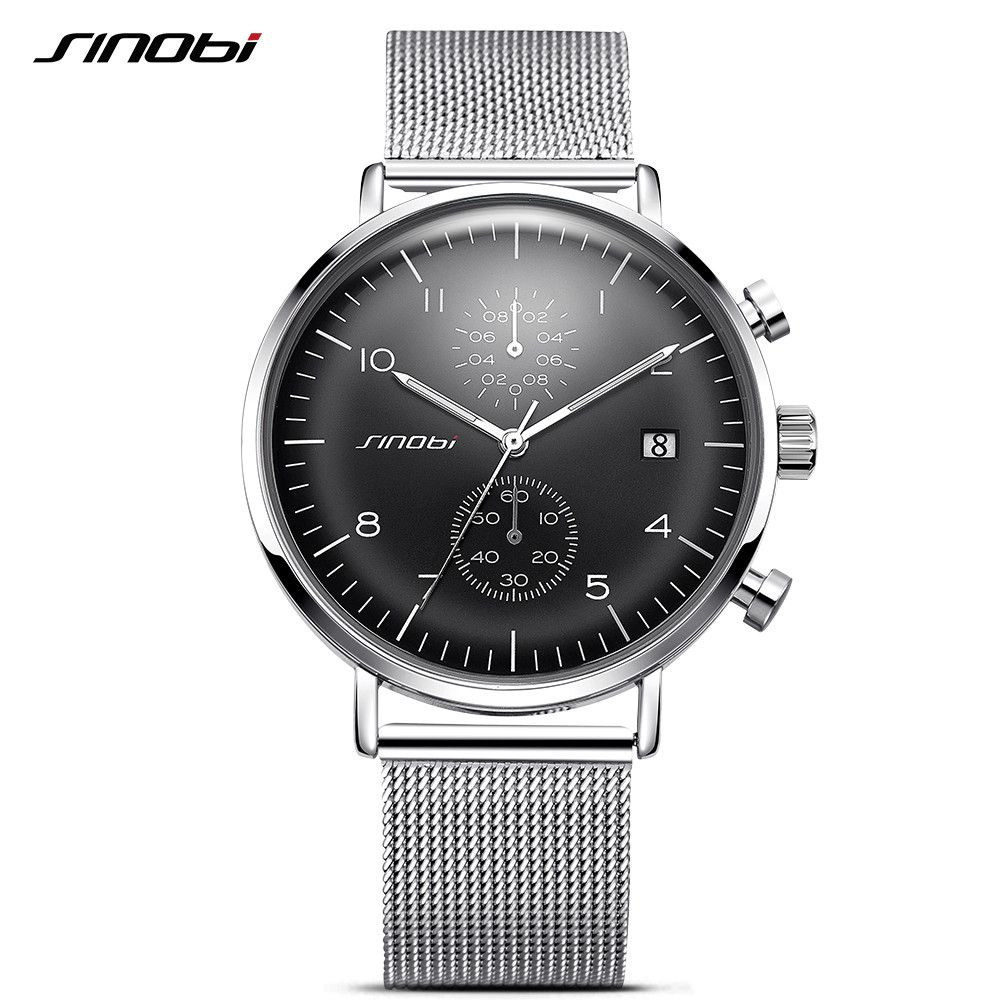 SINOBI New Business Watch Men Mesh Strap Wristwatch <font><b>Luminous</b></font> Pointer Watches Relogio Masculino Fashion Brand Chronograph Watch