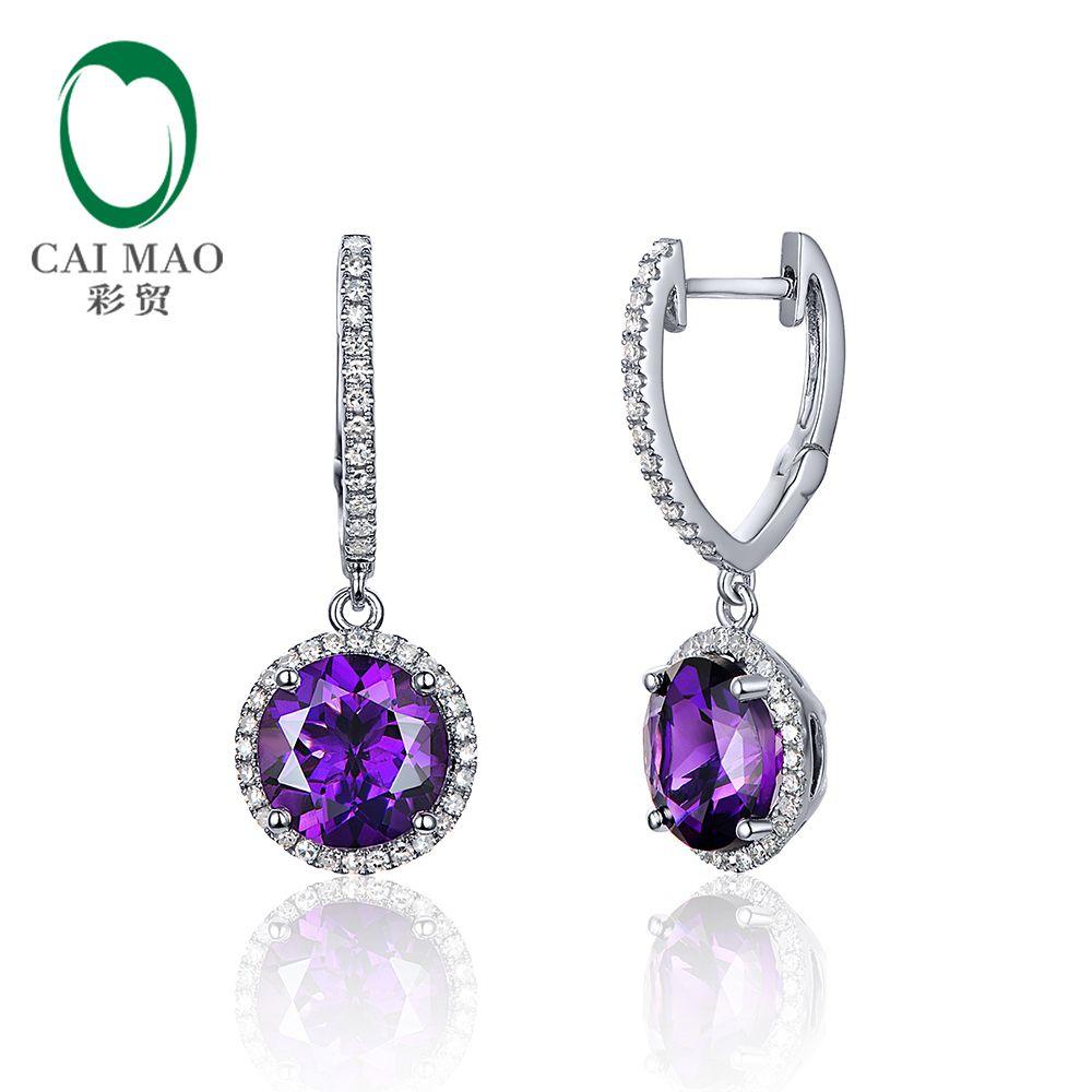 Caimao Schmuck 14 karat Weiß Gold 3.28ct Amethyst & 0.33ct Diamant Tropfen Ohrringe Für Damen