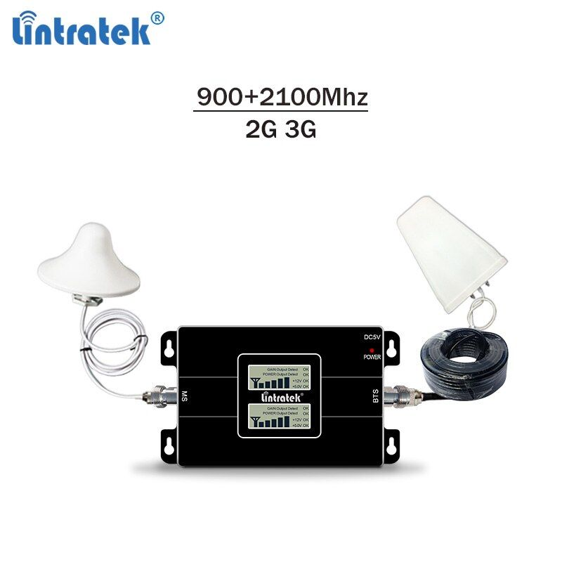 Lintratek cellular signal booster dual band GSM 900Mhz UMTS 2100Mhz 2G 3G signal repeater with LCD display full kit #6.3