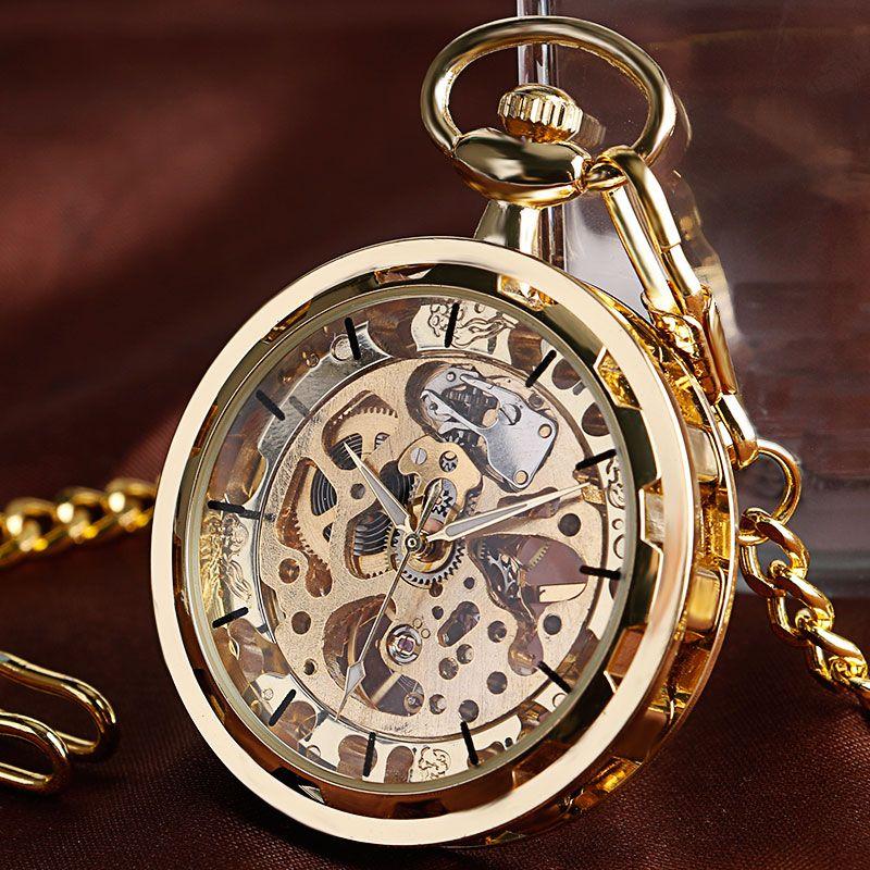 Винтаж часы Цепочки и ожерелья стимпанк Скелет Механическая брелок карманные часы кулон ручным подзаводом Для мужчин Для женщин цепи подар...