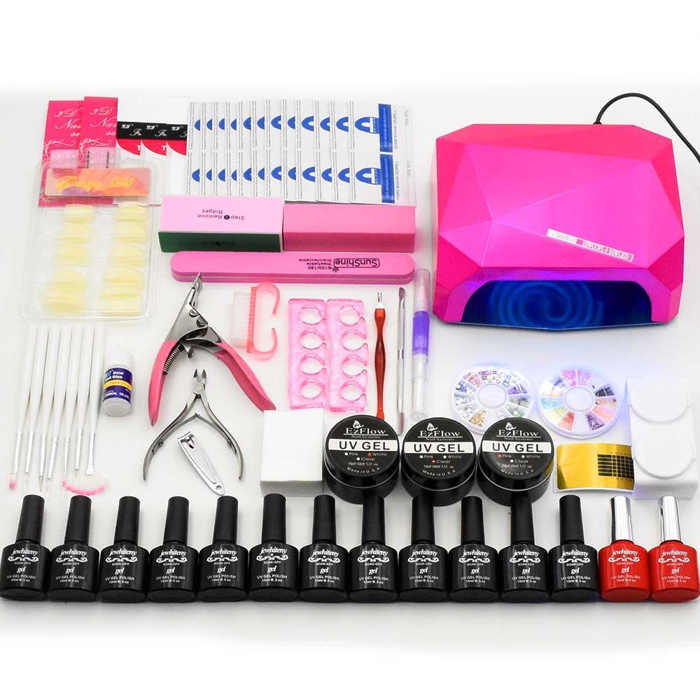12 farbe uv gel polnischen 36 watt UV LED lampe basis gel top mantel lack builder gel maniküre nail art werkzeuge sets kits nagel gel kit