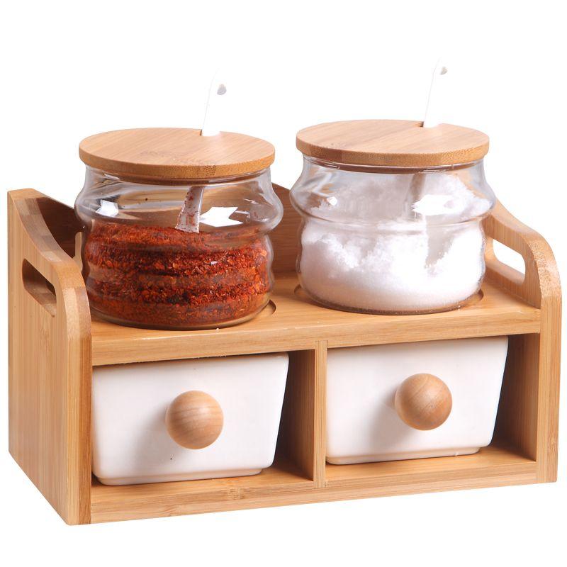 Houmaid kitchen accessories ceramic seasoning storage jars set with bamboo rack,spice/sugar/salt/pepper/sauce glass bottles