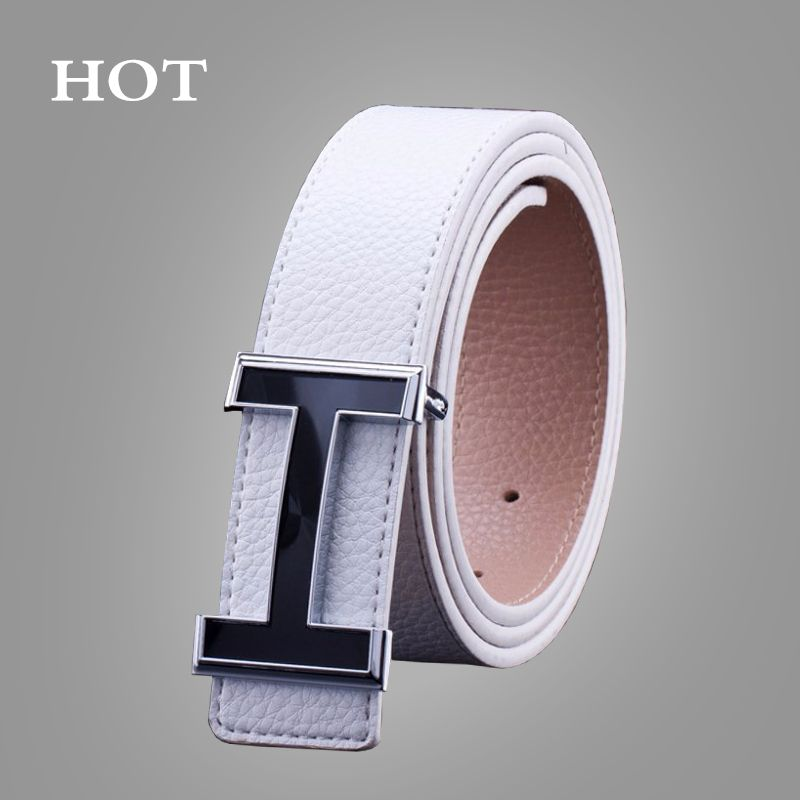 Top Luxury Belts <font><b>Smooth</b></font> Buckle Casual All-Match Designer Men Fashion High Quality Male Leather Belts For Men
