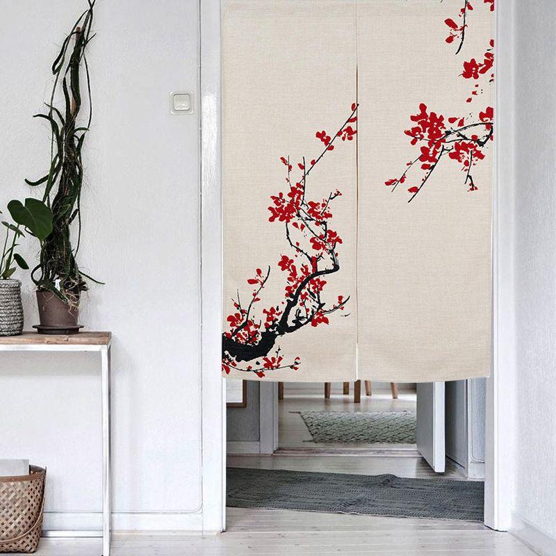 Japanischen Noren Tür Vorhang Tapestry Baumwolle Leinen Tür Vorhang Bildschirm Tür Blind Raumteiler Anti-thermische Chinesische Blume