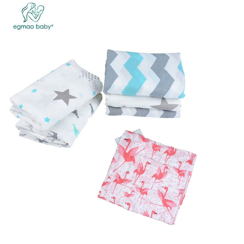 EGMAO BABY 3pcs/lot Muslin 100% Cotton Baby Blanket Flamingo Sleeping Bath Towel Infant Aden Anais Envelopes For Newborns