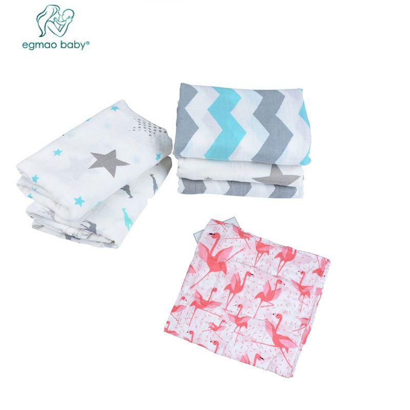 Egmao 3 шт./лот Муслин 100% хлопок детское одеяло Фламинго спальный Для ванной Полотенца младенческой Aden Anais конверты для новорожденных