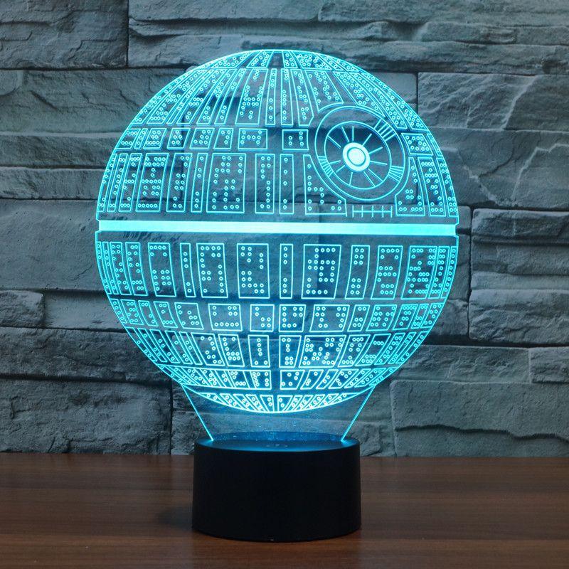 LED Table Lumière de Nuit 3D Illusion Optique USB Câble Bureau Lampe de Valentine Jour Halloween Décorations Star Wars Death Star