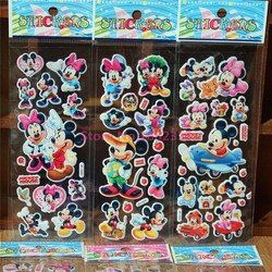 10 Sheets/lot 3D Puffy Bubble Stickers Cartoon Mickey mouse Waterpoof DIY Children Kids Boy Girl Toy