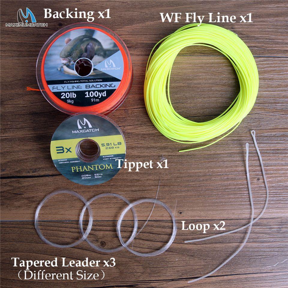 Maximumcatch 100FT 1-10wt ligne de pêche à la mouche poids combiné ligne de mouche flottante avant et ligne de support et pointe et connecteur Leader et boucle