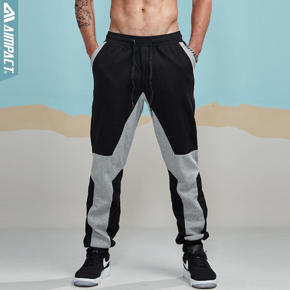 Aimpact 2017 New Jogger Pants Men Cotton Patchwork Sweatpants Fitted Sweat Pants Men Active Casual Trousers Track Pants AM5004