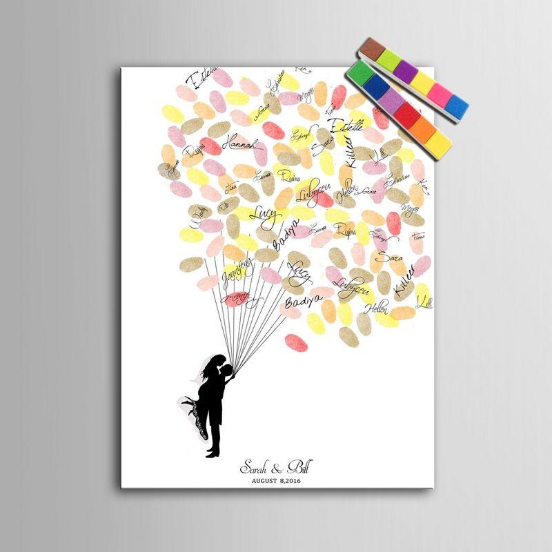 Invitado BookFingerprint Firma Pintura de la Lona Amor Globos Pareja de Huellas Digitales de La Boda Accesorios de La Boda Decoraciones Del Partido