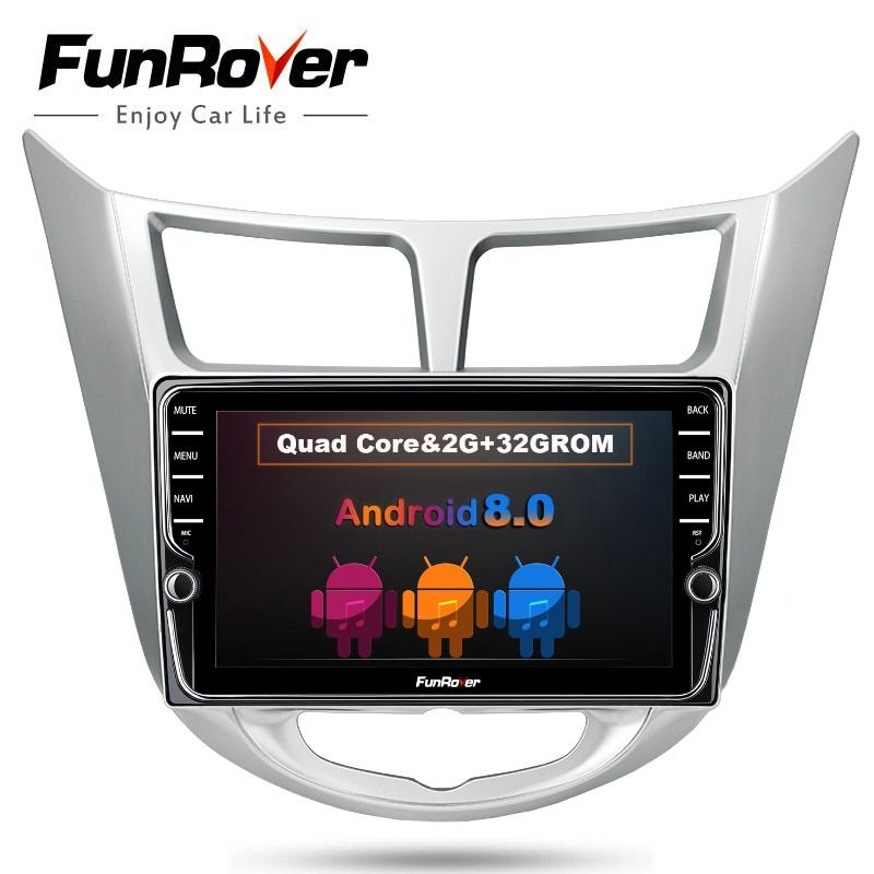 Funrover IPS Android8.0 Car DVD GPS Player For Solaris Verna Accent 2011-2016 Headunit Radio Video multimedia Player Navigation
