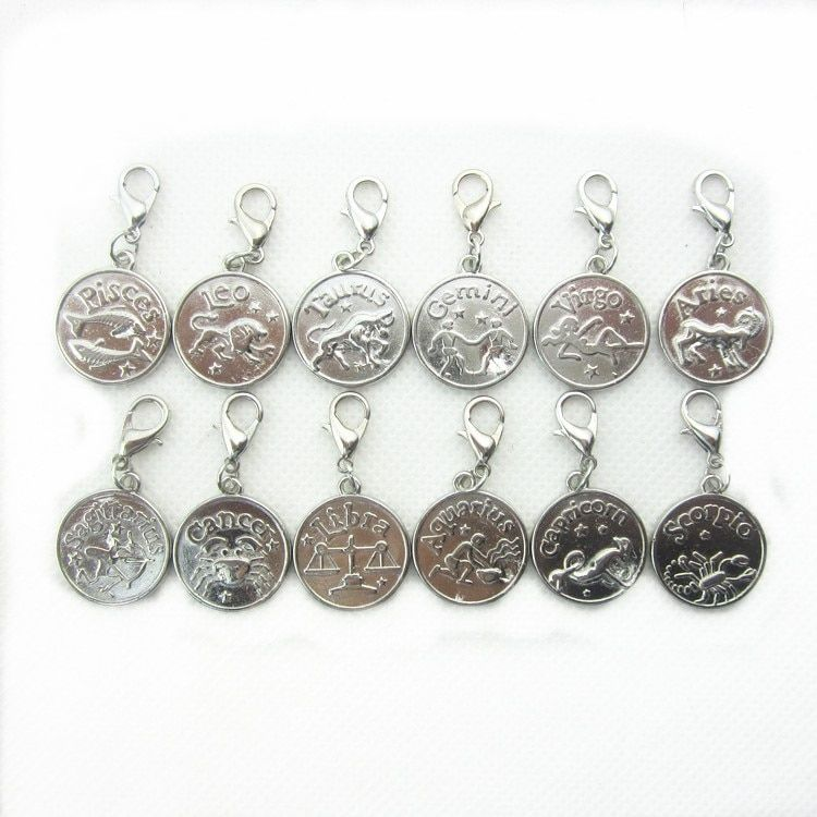 Hot selling 24pcs/lot mix 12 constellation dangle charms lobster clasp charms for glass momery floating pendant lockets
