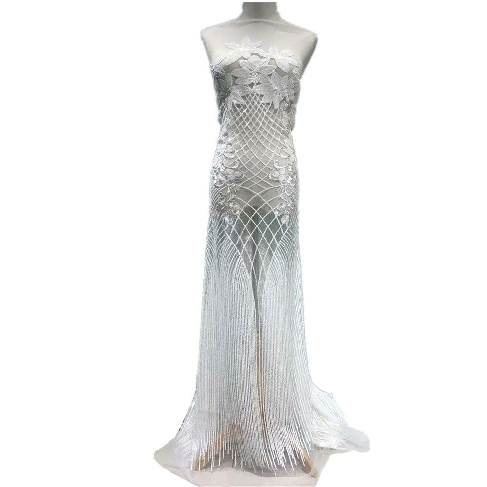 2018 haute qualité français nigérian paillettes net dentelle, tulle africain maille séquence dentelle tissu pour robe de soirée 5 yards/lot JL0918