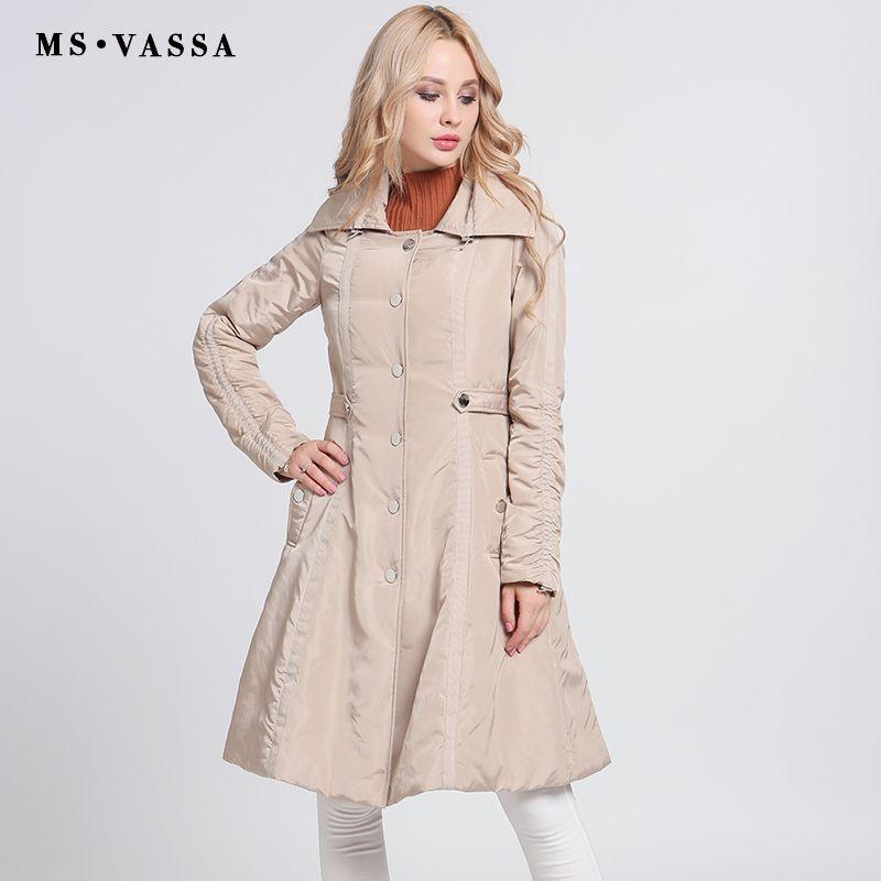 MS VASSA Ladies Parkas 2018 New fashion long jackets Women Autumn Winter coats turn-down collar plus size 3XL outerwear