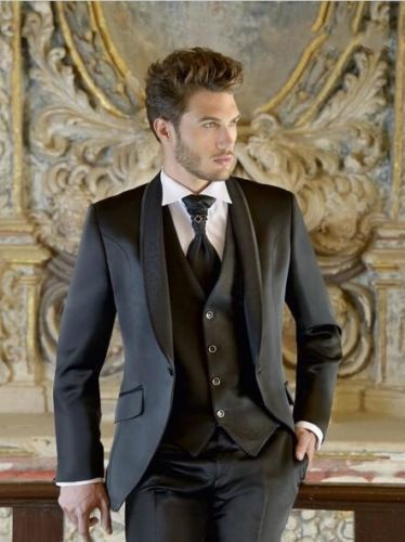 4Pieces(Jacket+Pant+Vest+Tie)Shawl Collar Black Men Suits Custume Homme Fashion Terno Masculino New Style Slim Fit Tuxedos Wool