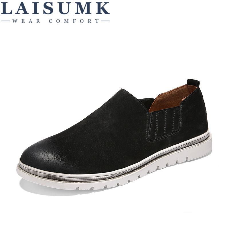 2018 LAISUMK Men Casual Shoes Fashion Men Shoes Genuine Leather Men Flats Driving Moccasins Slip On Loafers Sapatos Homens